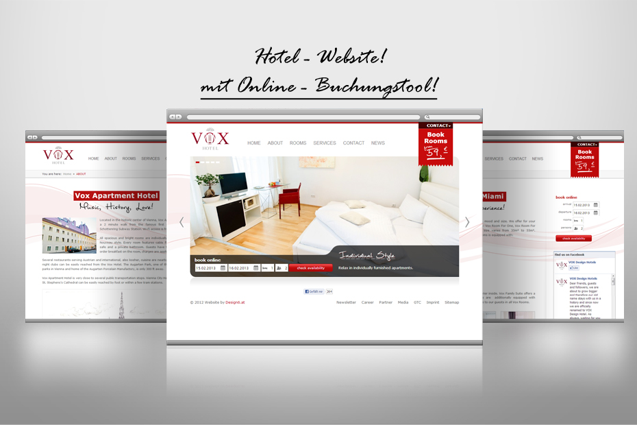 die VOX Hotel Website Screendesign und Buchungstool
