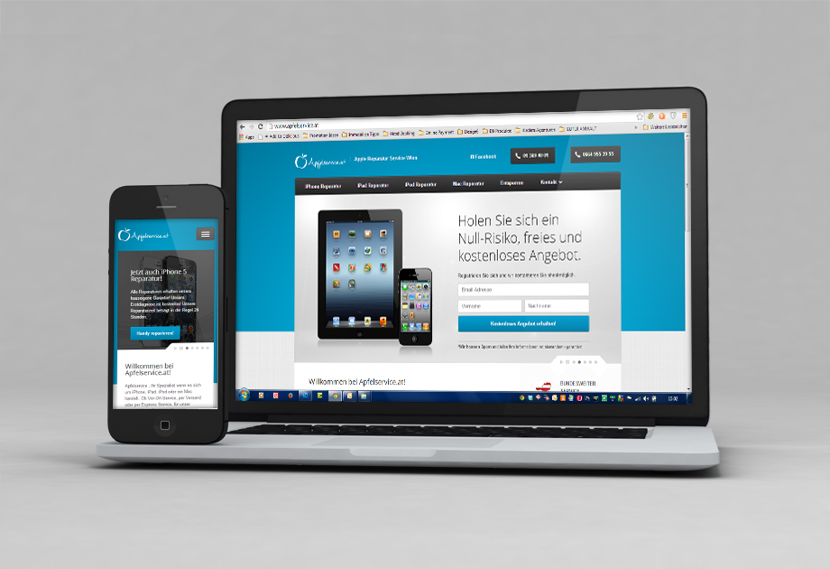 Apfelservice Website Projekt Mobile ansicht und Screendesign