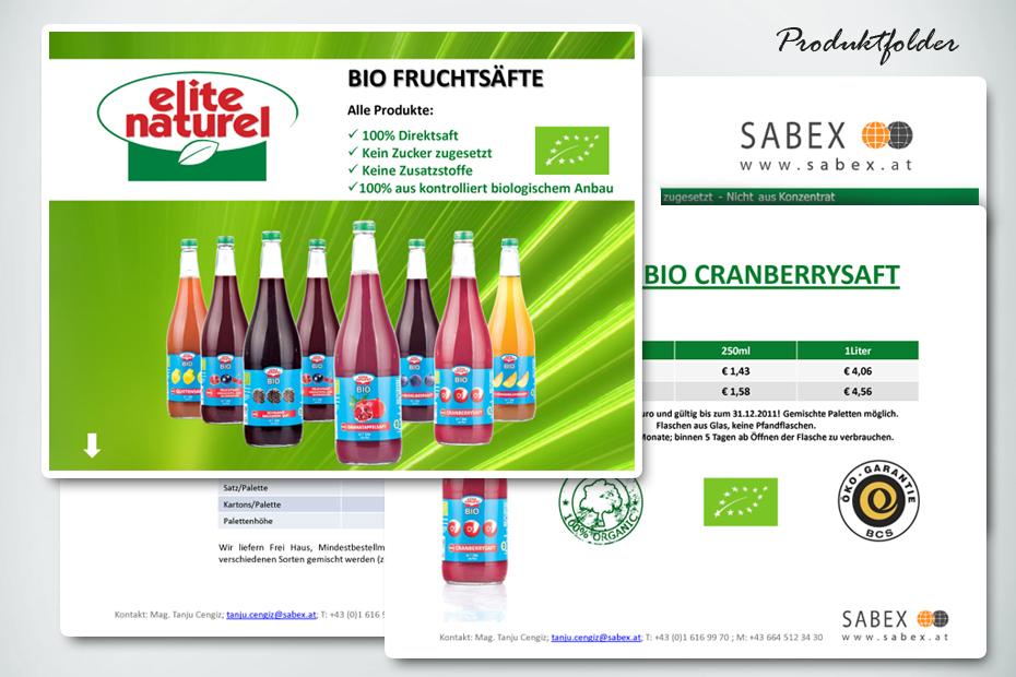 Für Sabex Produktion und Druck von Infoflyern