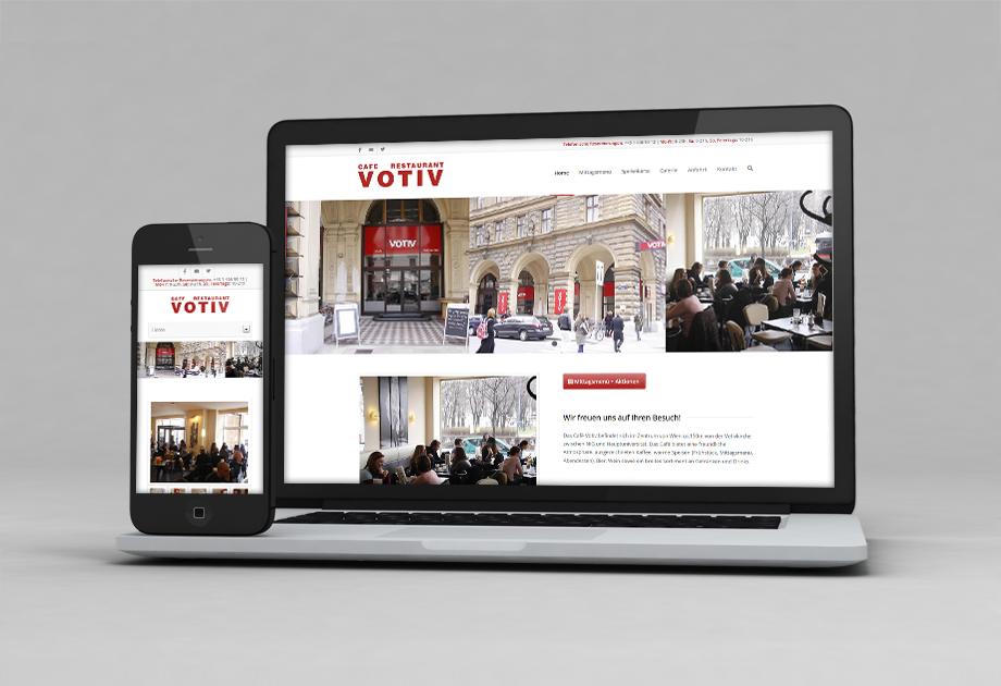 Webdesign Projekt für Votiv Cafe mit Responsive Design