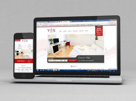 die VOX Hotel Website mit Mobile ansicht und Screendesign