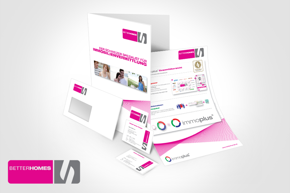Printdesign und Druck von Flyern, Visitenkaten und Koverte für Better Homes