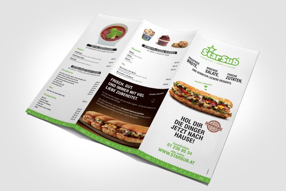 Produktion von Speisekarten für StarSub Printmedien