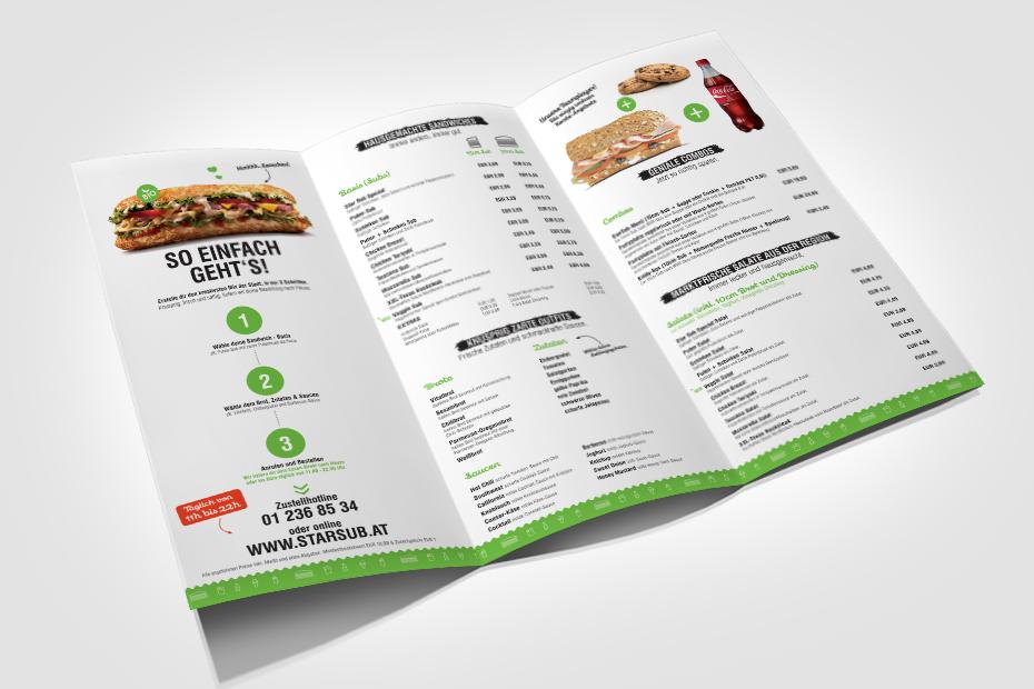 Printdesign und Druck für StarSub Speisekarten