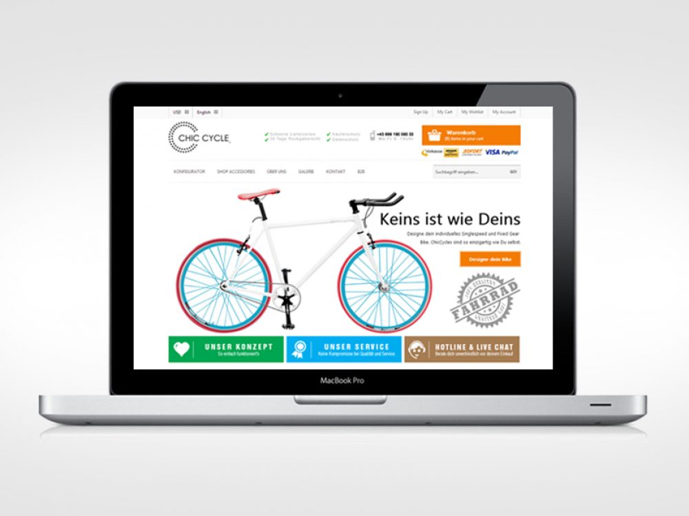 Ecommerce Projekt ChicCycle das Screendesign