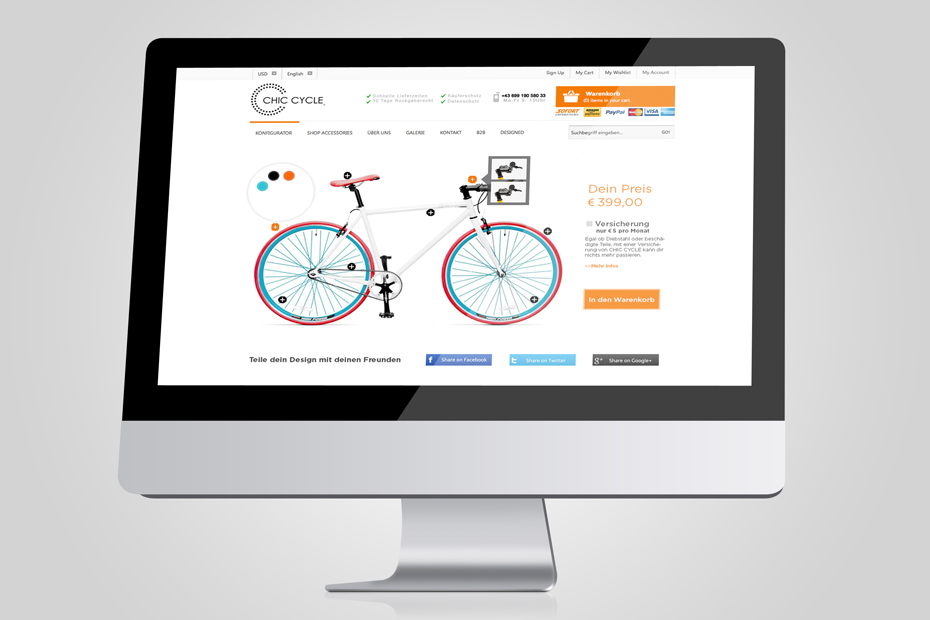 Webshop von ChicCycle mit kompliziertem Konfigurator