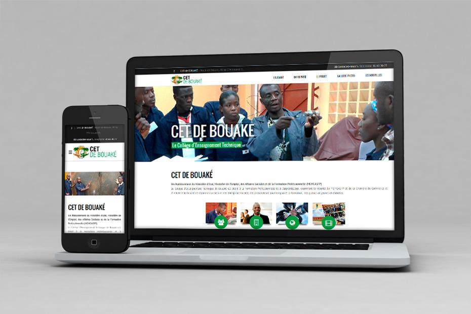 Responsive Webdesign und Screendesign für das UNIDO Projekt CET de Bouake